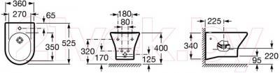 Биде подвесное Roca Nexo А357645000 - технический чертеж