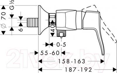 Смеситель Hansgrohe Metris Classic 31672000 - технический чертеж