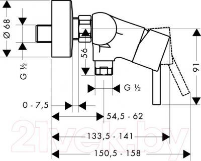 Смеситель Hansgrohe Talis 32640000 - технический чертеж