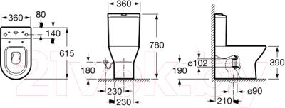 Унитаз напольный Roca Nexo Comp A342642000 (только чаша)