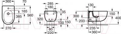 Биде подвесное Roca N-Meridian А357245000 - схематическое изображение