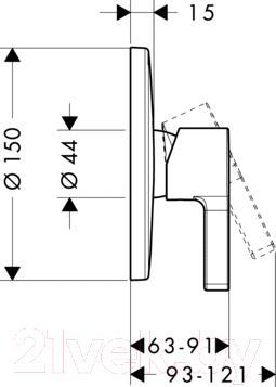 Смеситель Hansgrohe Metris S 31665000 - технический чертеж