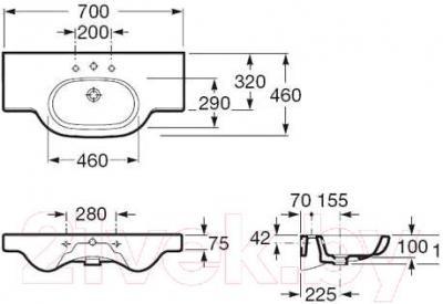 Умывальник накладной Roca N-Meridian 70x46 (A327240000)