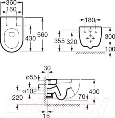 Унитаз подвесной Roca N-Meridian А346247000 (только чаша)