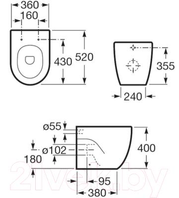 Унитаз приставной Roca N-Meridian А347247000 (только чаша)