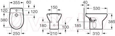 Биде напольное Roca Victoria A357390000 - технический чертеж
