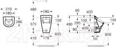 Писсуар Roca Nexo А35364L000 - схема