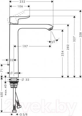 Смеситель Hansgrohe Metris 31082000 - технический чертеж