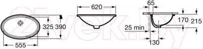 Умывальник Roca Grand Berna 62x39 (A327899000) - габаритные размеры