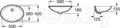 Умывальник Roca Berna 56x42 (А327871001) - технический чертеж