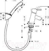 Смеситель Hansgrohe Talis S Hygienica 32120000 - технический чертеж