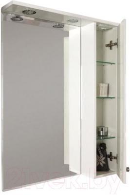 Шкаф с зеркалом для ванной Акватон Лиана 60 (1A162702LL01R) - общий вид с открытой дверцей