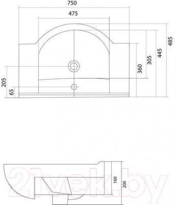 Умывальник накладной Акватон Аквалайн 75 (1WH110237) - габаритные размеры