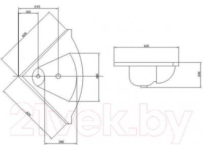 Умывальник Акватон Сергей 62 (1A700131SR010) - габаритные размеры