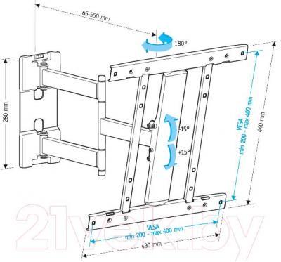 Кронштейн для телевизора Holder LCD-SU4601-B - габаритные размеры