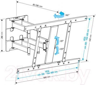 Кронштейн для телевизора Holder LCD-SU6602-B - габаритные размеры