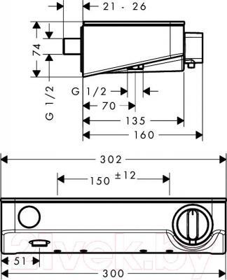 Смеситель Hansgrohe Shower TabletSelect 13171400 - технический чертеж