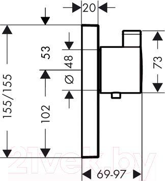 Смеситель Hansgrohe ShowerSelect Highflow 15761000 - технический чертеж