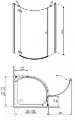 Душевое ограждение Radaway Almatea PDJ 90 L (30602-01-05N)