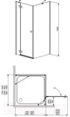 Стенка+дверь душевой кабины Radaway Almatea KDJ 90 L (32102-01-08NL)