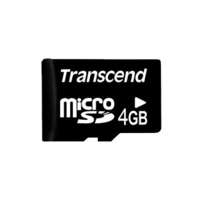 Карта памяти Transcend microSDHC (Class 6) 4 Gb + SD адаптер (TS4GUSDHC6) - основной вид