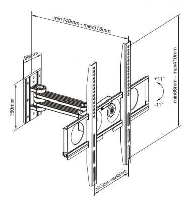 Кронштейн для телевизора Brateck LPA01-441 - вид спереди
