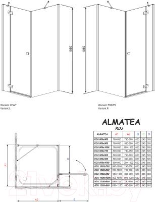 Душевое ограждение Radaway Almatea KDJ 90 R (32102-01-01NR)