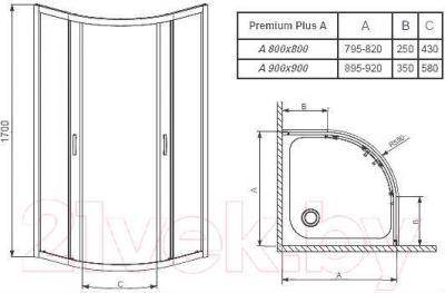 Стенка+дверь душевой кабины Radaway Premium Plus A1700 (30401-01-06N)