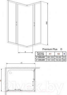 Душевое ограждение Radaway Premium Plus D1000 (30434-01-01N)