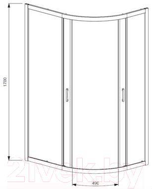 Стенка+дверь душевой кабины Radaway Premium Plus E1700 (30481-01-05N)