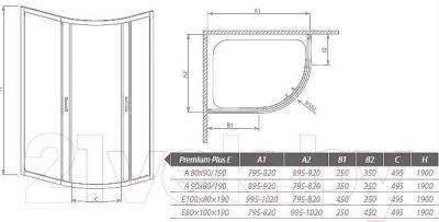 Стенка+дверь душевой кабины Radaway Premium Plus E1900 (30491-01-06N)