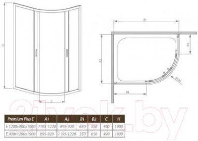 Стенка+дверь душевой кабины Radaway Premium Plus E1900 (30493-01-06N)