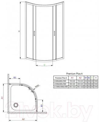 Стенка+дверь душевой кабины Radaway Premium Plus A800 (30413-01-05N)