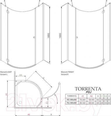 Стенка+дверь душевой кабины Radaway Torrenta PDJ 90 L (31700-01-01N)