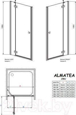Душевое ограждение Radaway Almatea DWJ 100/L (31202-01-01N)