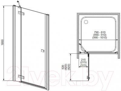 Дверь душевой кабины Radaway Almatea DWJ 110/R (31312-01-01N)