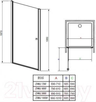 Душевая дверь Radaway EOS DWJ 90 (37903-01-01N)