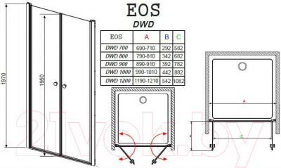Дверь душевой кабины Radaway EOS DWD 100 (37723-01-01N)
