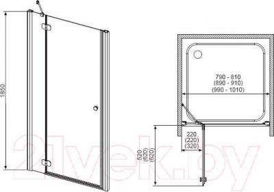 Дверь душевой кабины Radaway Torrenta DWJ 100/L (31920-01-10N)