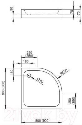 Душевой поддон Radaway Siros A900 Compact