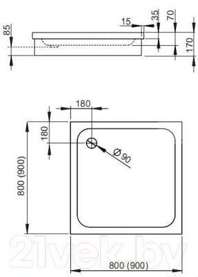 Душевой поддон Radaway Siros C900 Compact