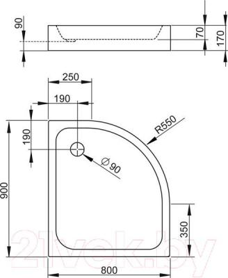 Душевой поддон Radaway Siros Compact E900x800 R / SBE8917-R