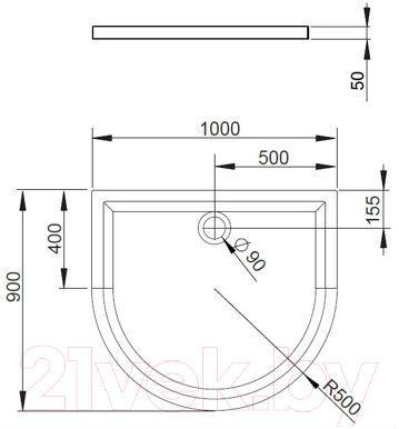Душевой поддон Radaway Delos P1000 Panel