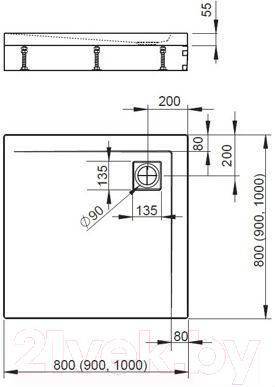 Душевой поддон Radaway Argos C900 / 4AC99-01 (с ножками)