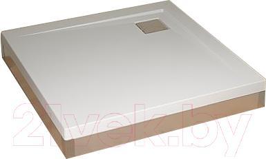 Фронтальная панель поддона Radaway Front Panel Argos C1000x1000 (хром) - вид с поддоном