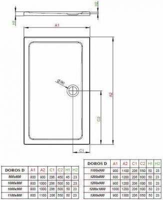Душевой поддон Radaway Doros D900x1100 / SDRD1190-01