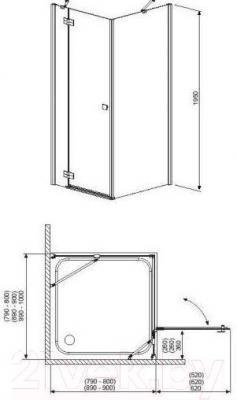 Стенка+дверь душевой кабины Radaway Almatea KDJ 120 R (32144-01-01NR)