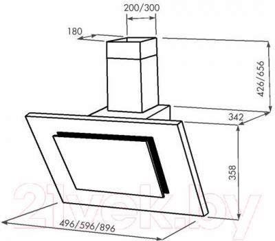Вытяжка декоративная Zorg Technology Вертикал C (Titan) 1000 (нержавейка, черное стекло) - габаритные размеры