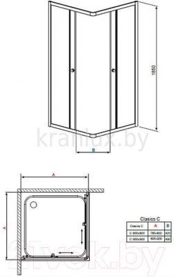 Стенка+дверь душевой кабины Radaway Classic C900 (30050-01-01)