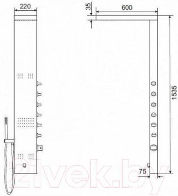 Душевая панель Excellent Actima Pi Quatro (ARAC.ML7065EM) - габаритные размеры